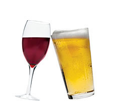 Wine and Beer in Glasses
